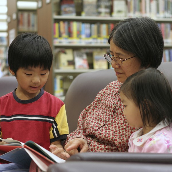 Grandma and Kids Reading