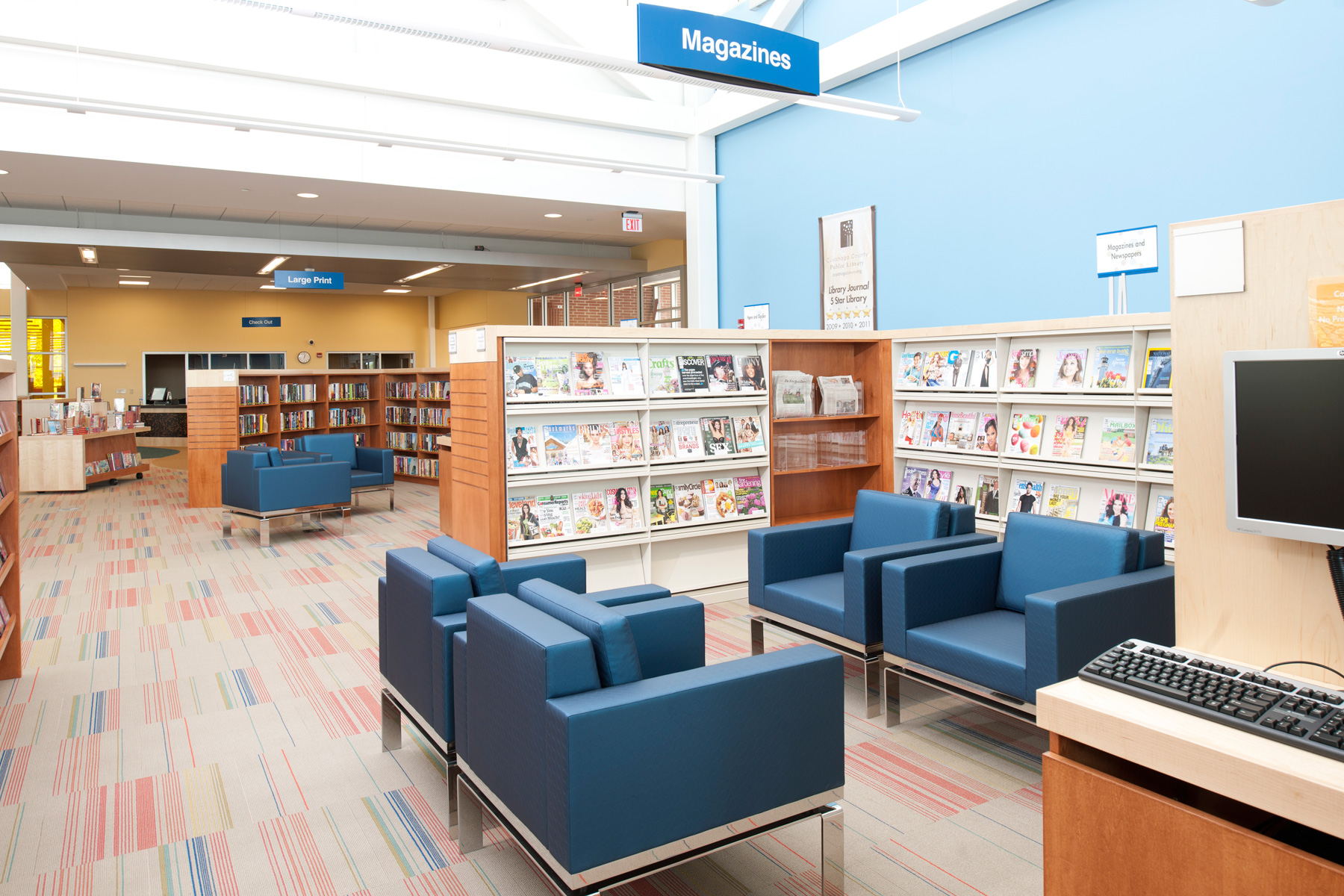 Neighborhood Shelving, Warren Heights Public Library, HBM Architects, Photo Credit: Kevin Reeves photographer