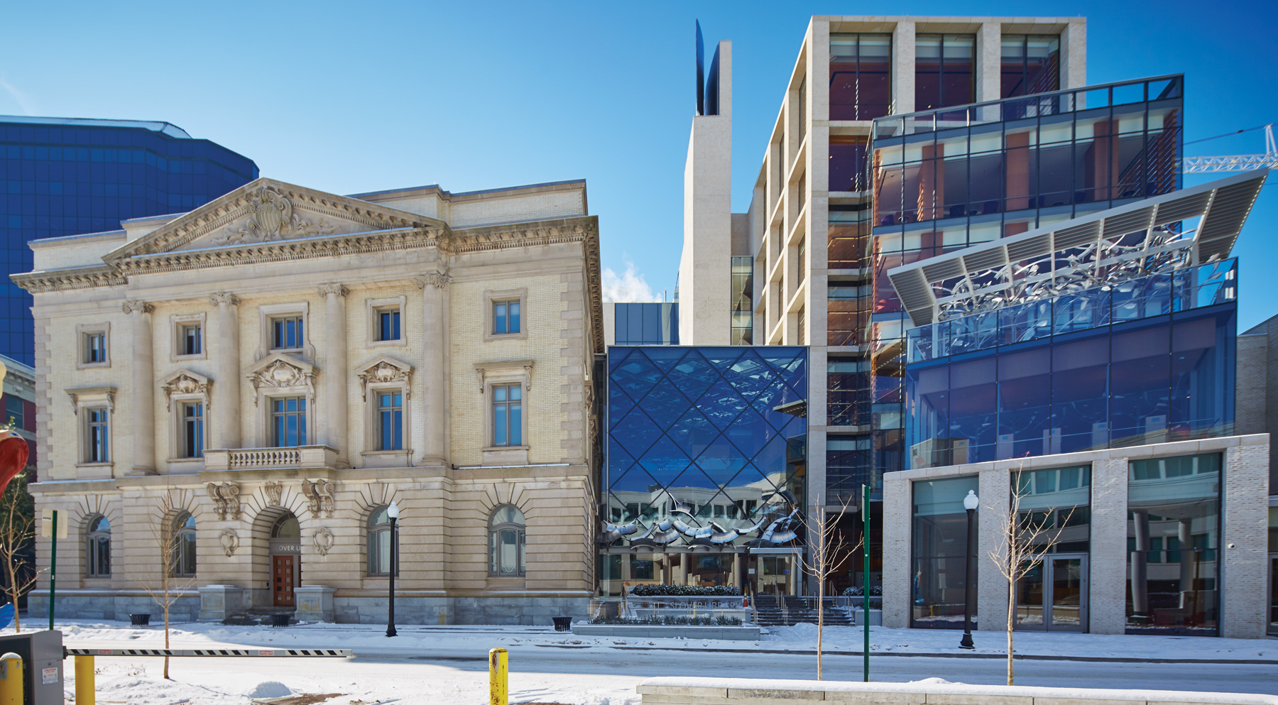 The exterior of Slover Library symbolizes the transition from old to new.