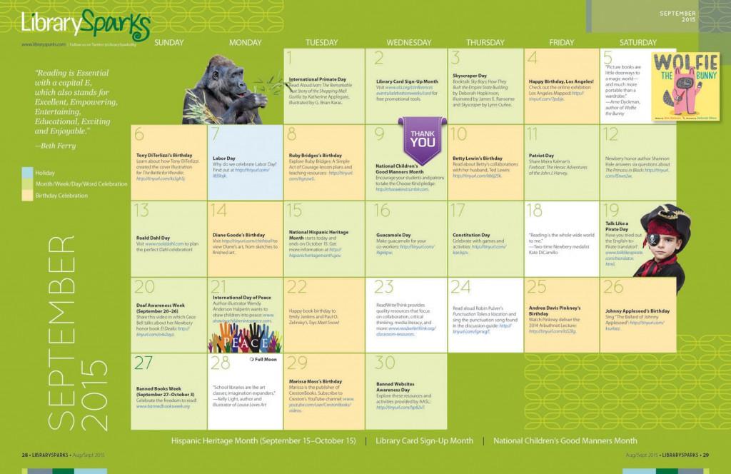 September LIbrarySparks Calendar