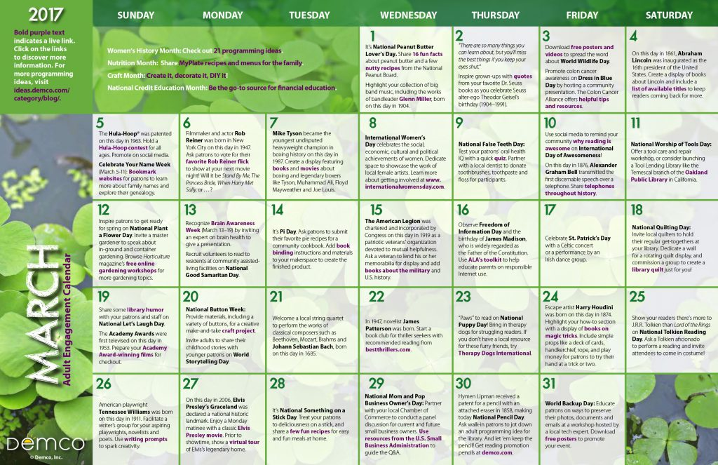 Adult Engagement Calendar: March 2017