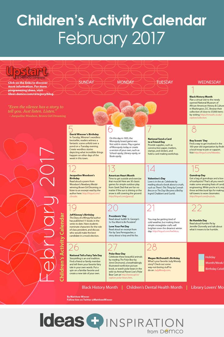 Children S Activity Calendar February 2017