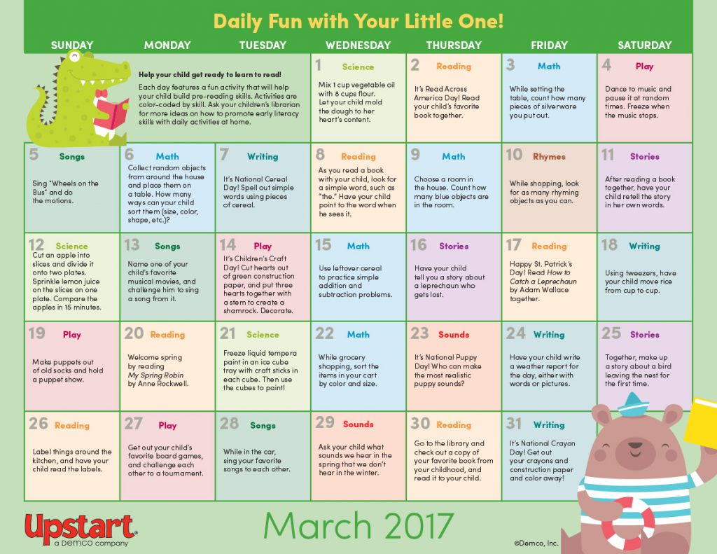 Early Literacy Activity Calendar: March 2017