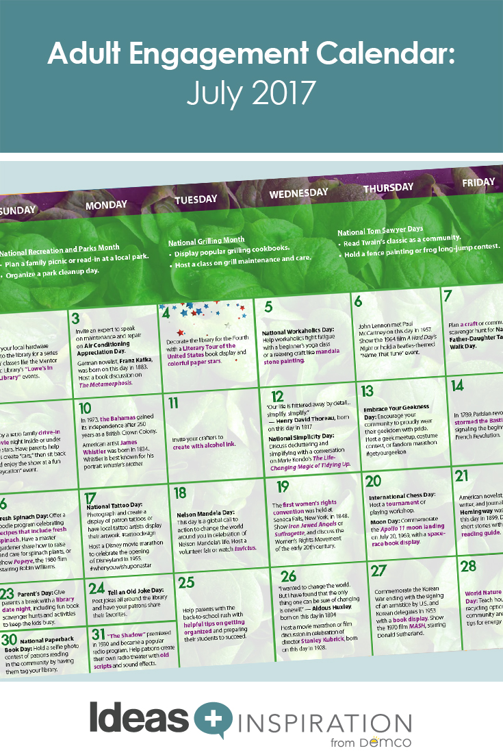 Adult Engagement Calendar: July 2017