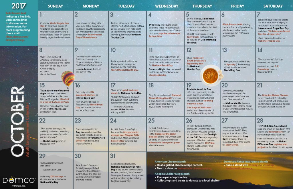 Adult Engagement Calendar: October 2017