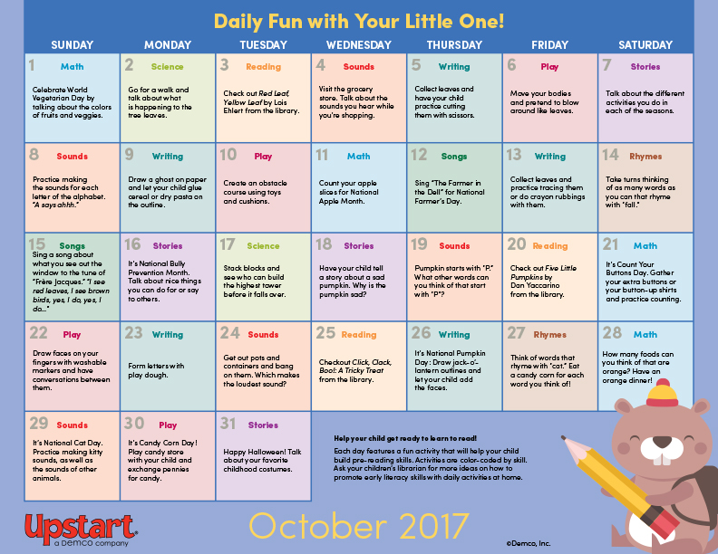 Early Literacy Activity Calendar: October 2017