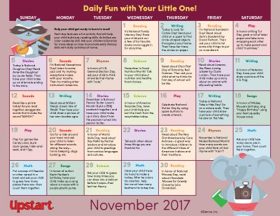 Early Literacy Activity Calendar: November 2017