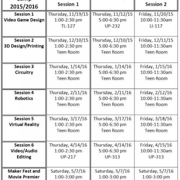 Maker Boot Camp Schedule