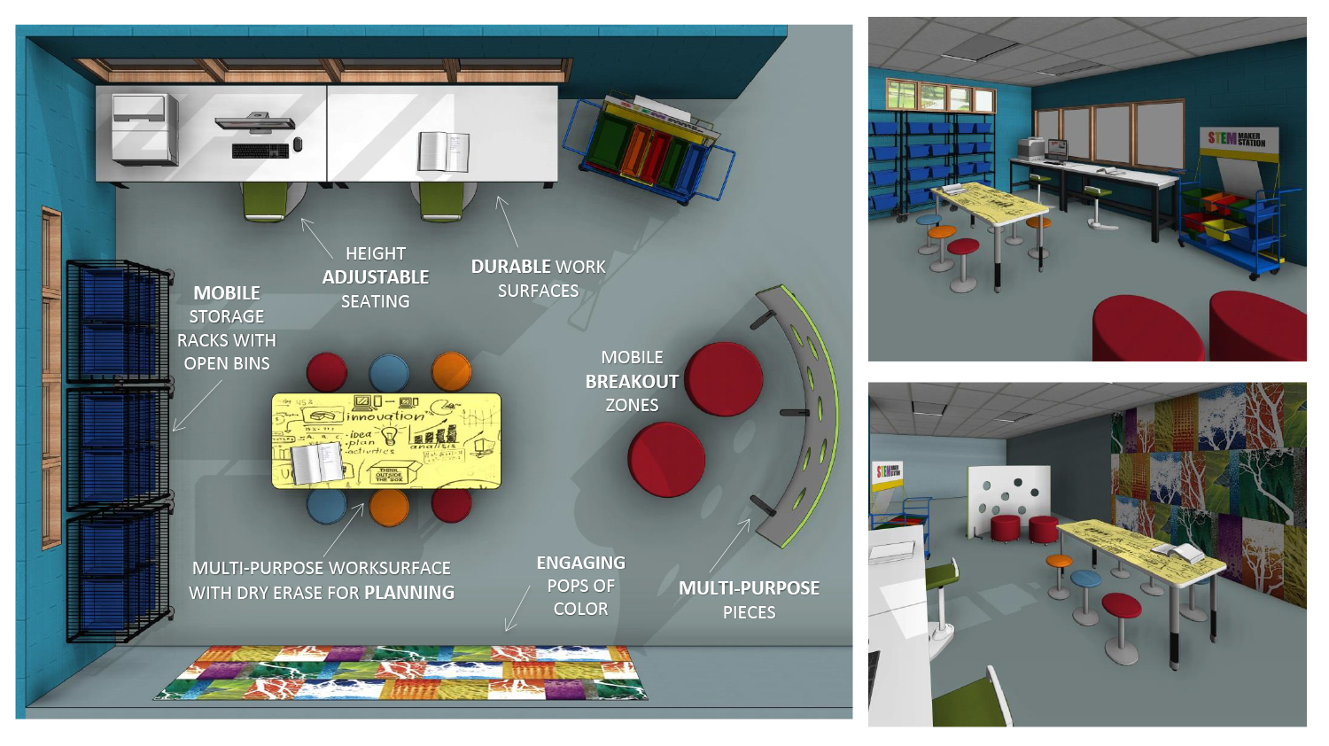 The Creator Cove example makerspace featured in Demco's Makerspace Planning Tool.