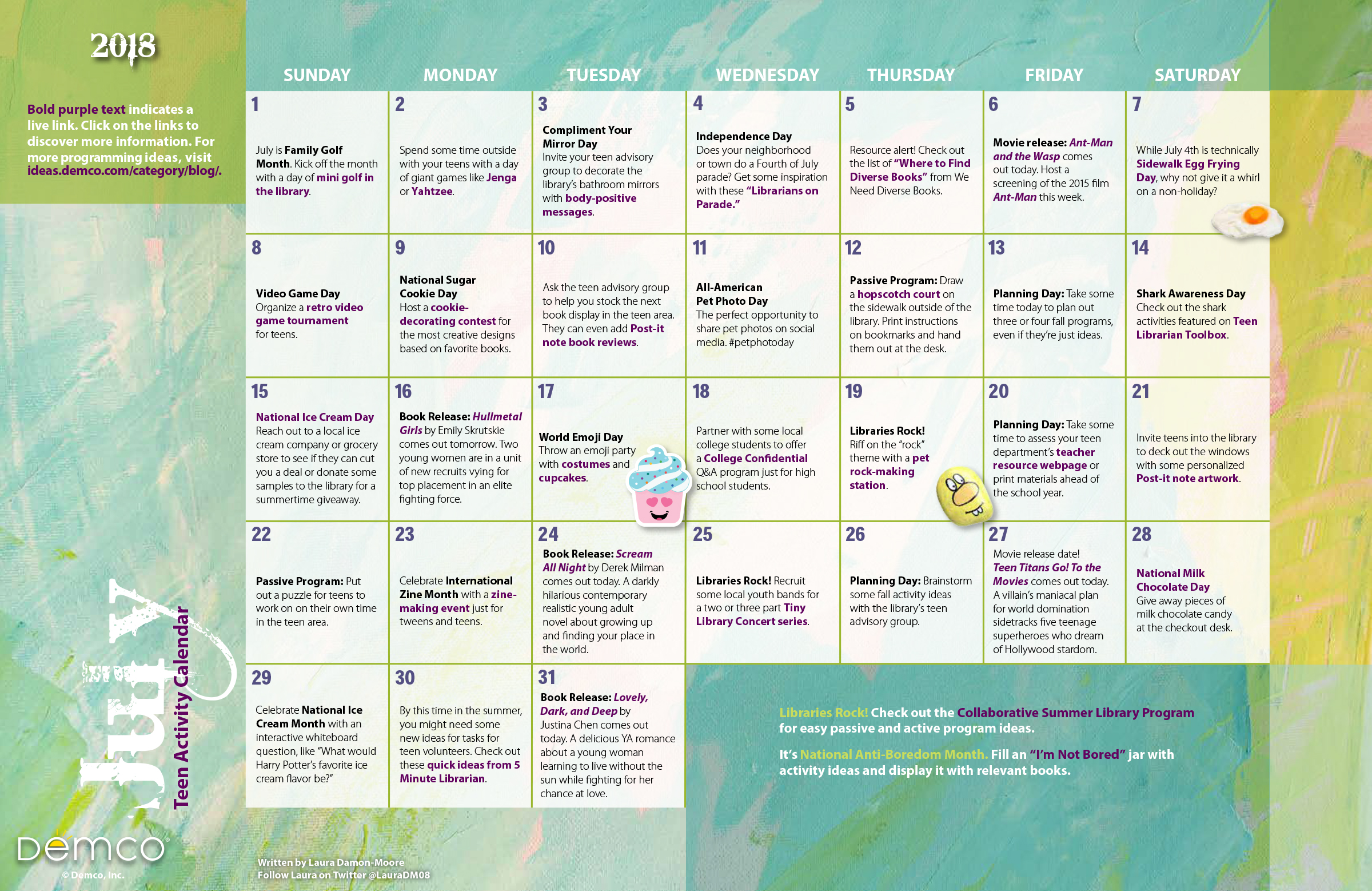 photo relating to Printable Activities for Teens named Teenager Game Calendar July 2018: Exciting actions for young adults