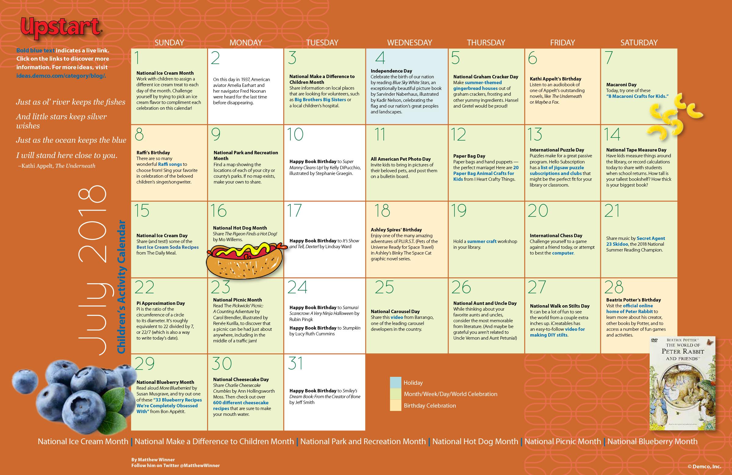 Children's Activity Ideas Calendar: July 2018. Summer Fun ...
