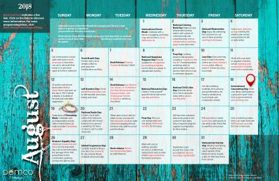 Teen Activity Calendar: August 2018