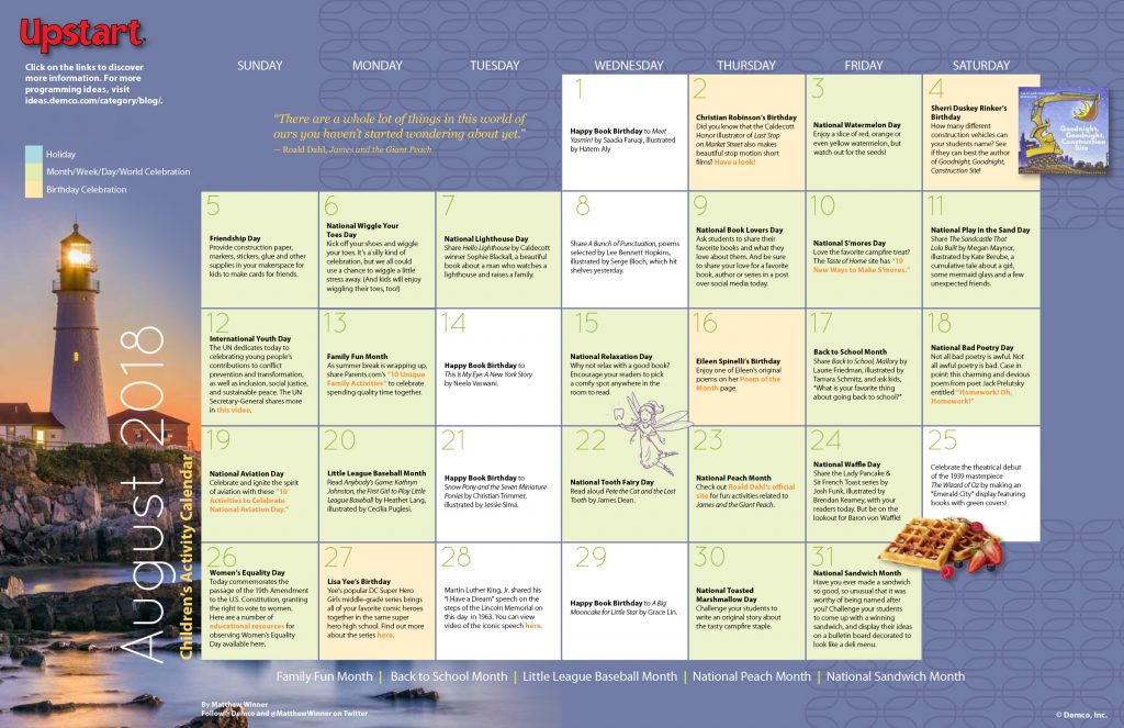 Children's Activity Calendar August 2018