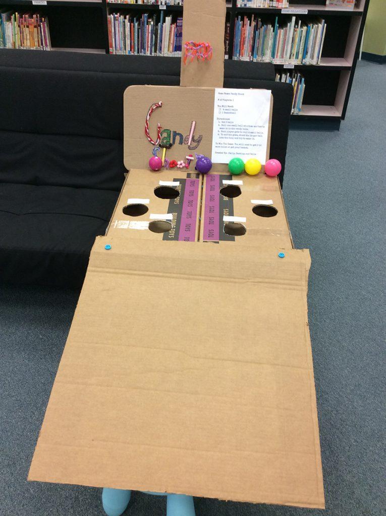 "Student-created cardboard ""skee-ball"" game."