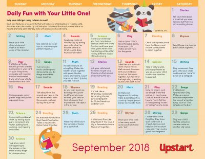 Early Literacy Activity Calendar: September 2018