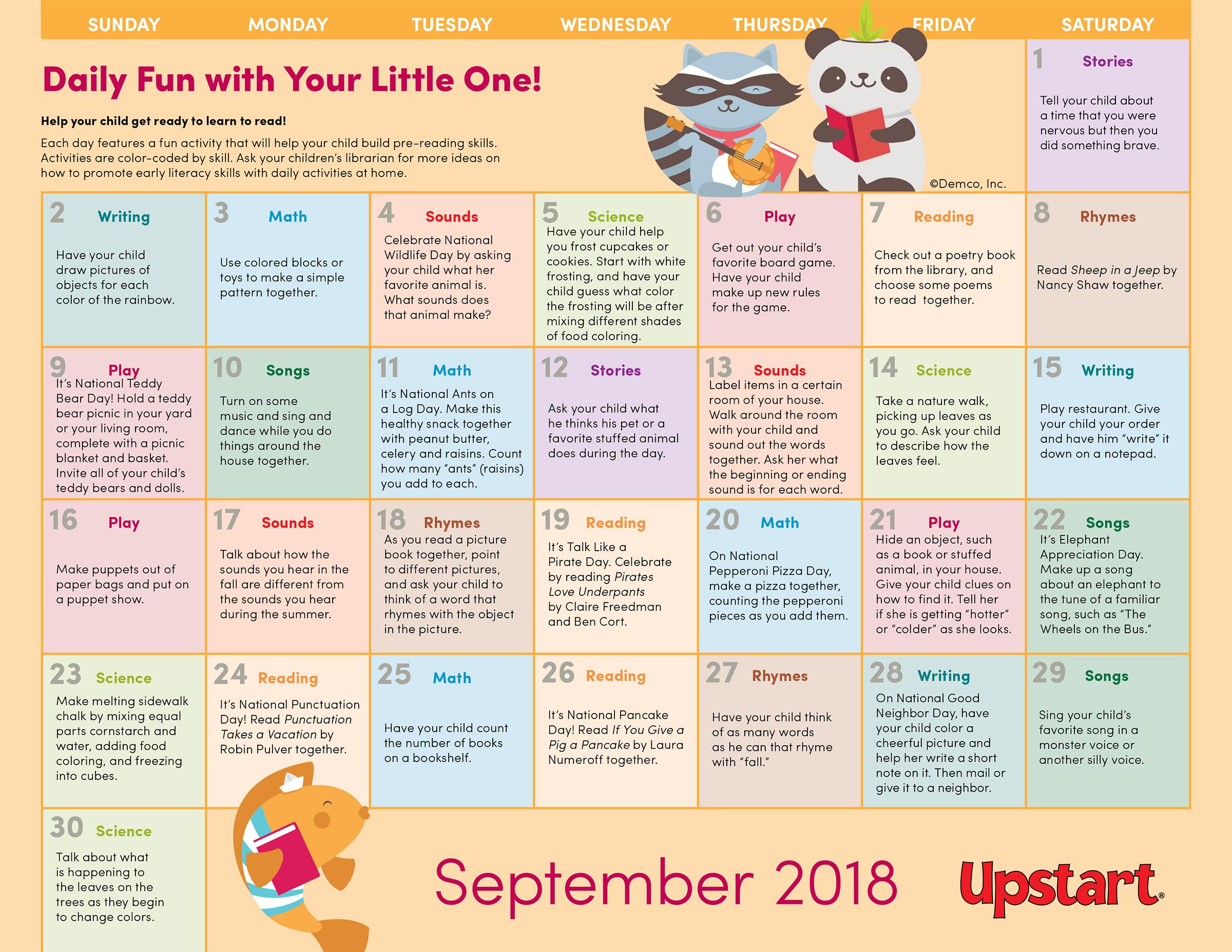Early Literacy Activity Calendar: September 2018 — Crafts
