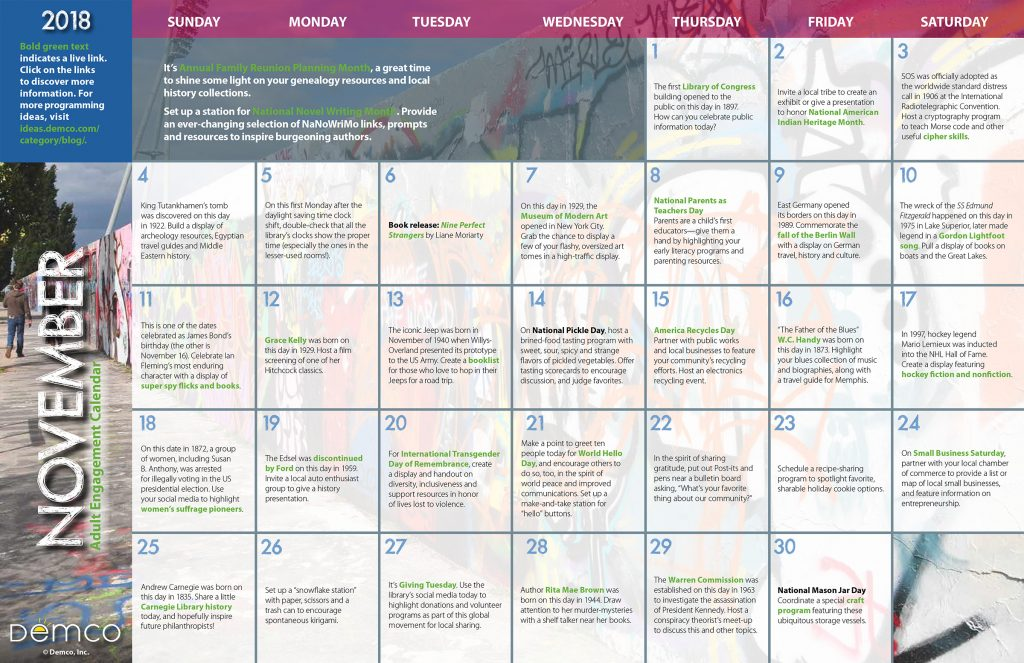 Adult Programming Calendar November