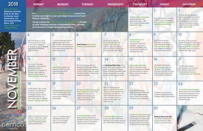 Adult Activity Calendar: November 2018