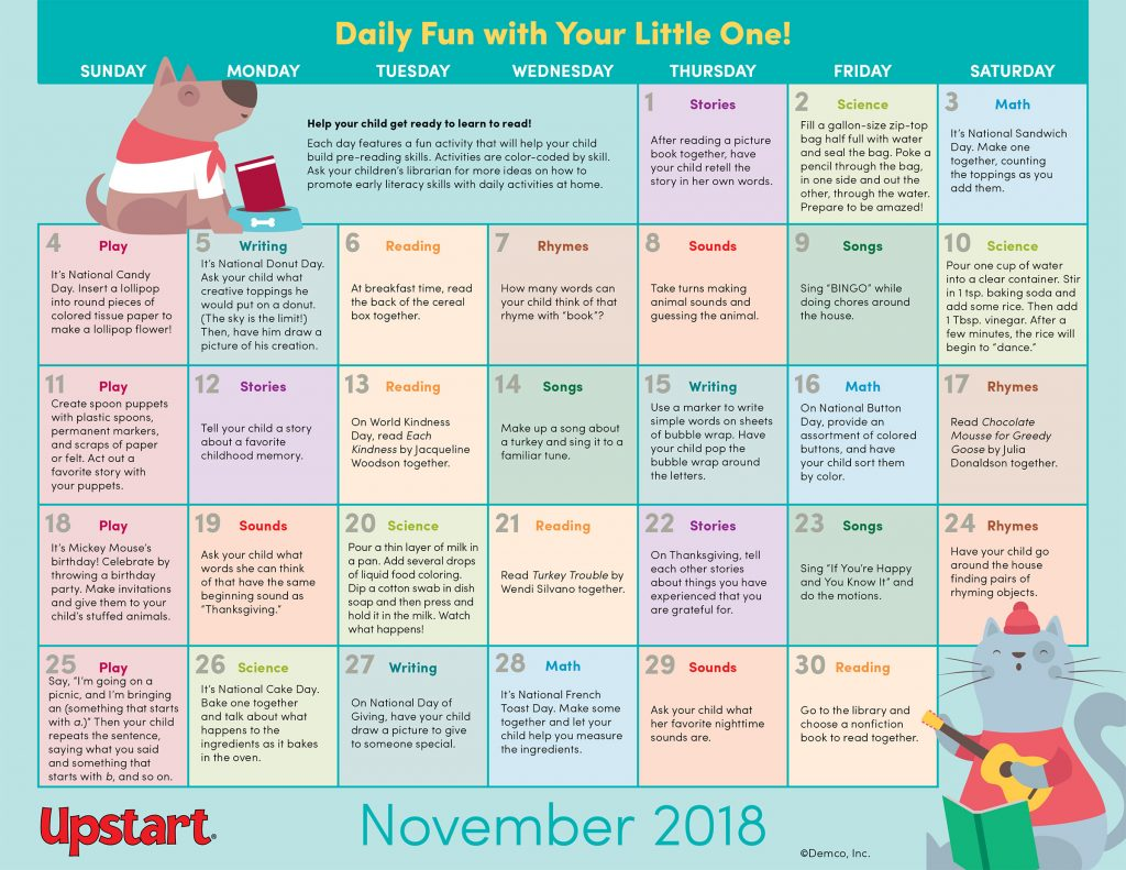 Early Literacy November Activity Calendar
