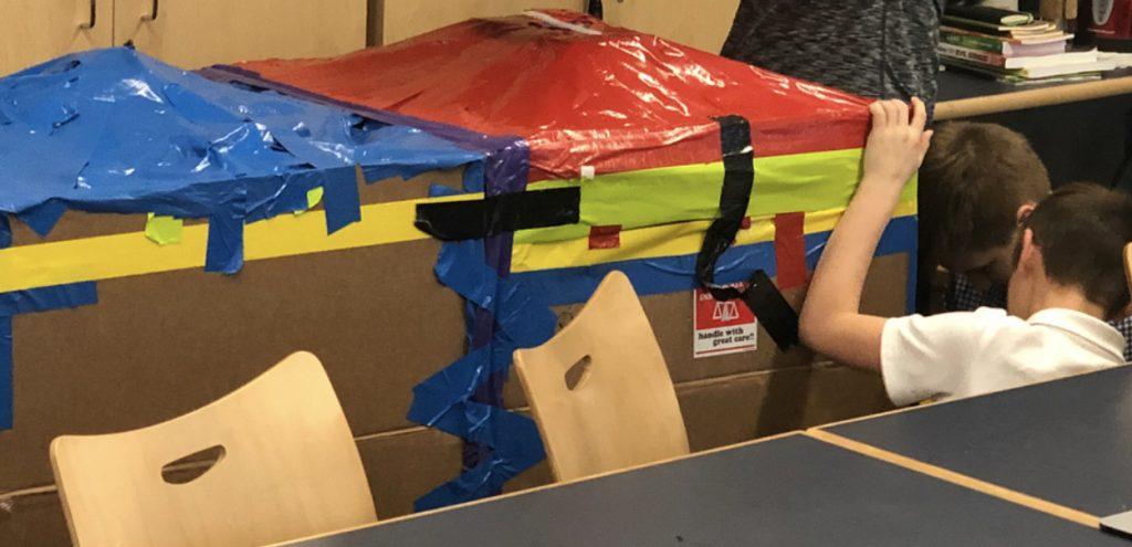 Cardboard fort build.