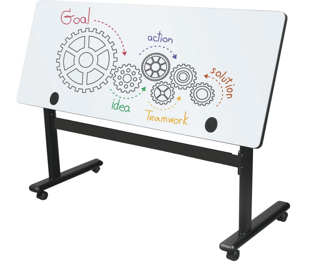 MooreCo™ Sit/Stand Dry-erase Flipper Tables — Rectangle