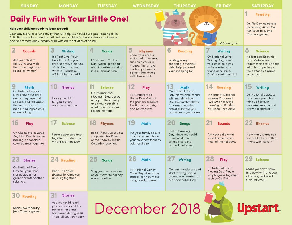Calendar of Early Literacy Activities for December 2018