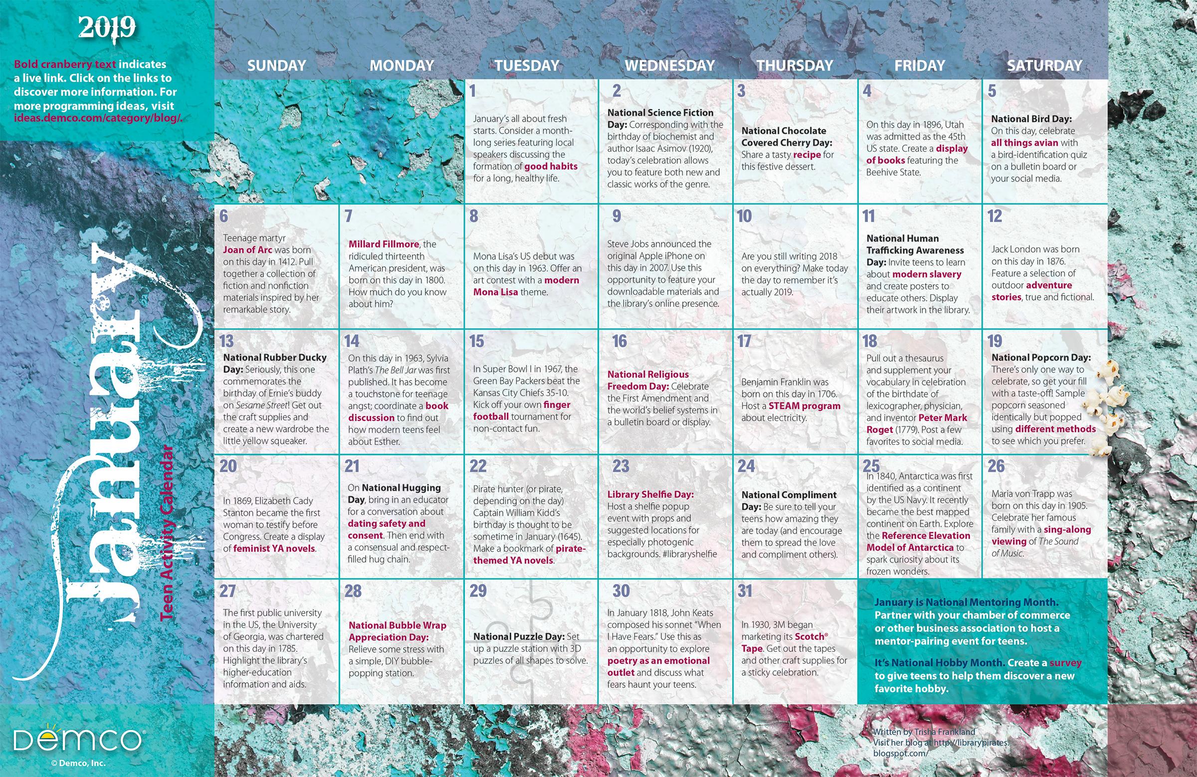 January 2019 Book It Calendar January 2019 Teen Activity Calendar: Library Program Ideas for Teens