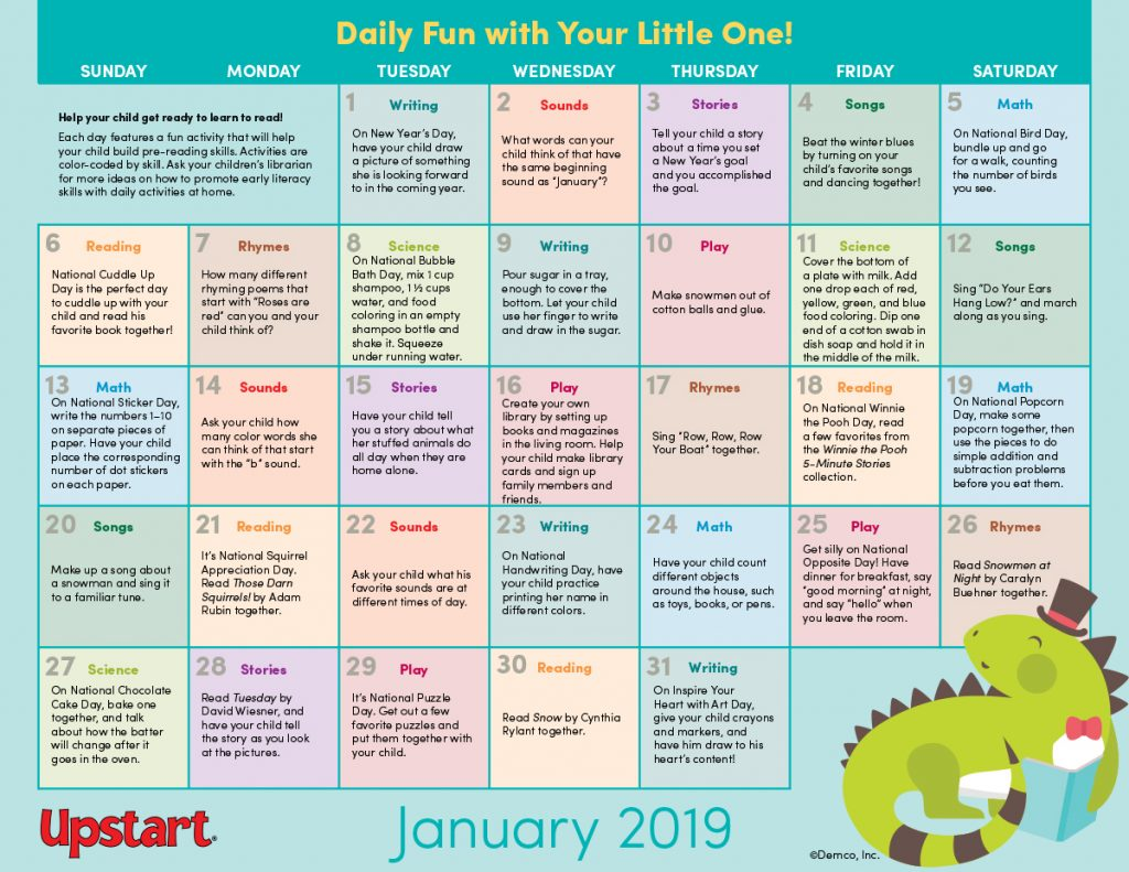 Early Literacy Activity Calendar: January 2019