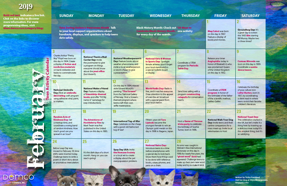 Show Calendar For February 2019 Teen Programming Calendar: February 2019, Activities, Books, and More!