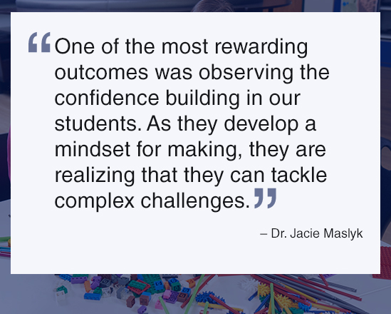 Quote on student outcomes from makerspace activities