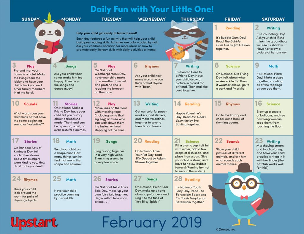 February 2019 Early Literacy Activities Calendar