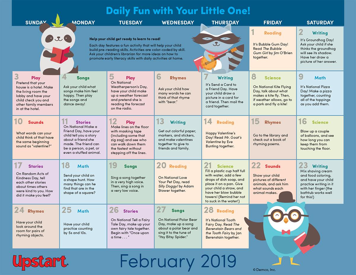 National Day Calendar 2019 February Early Literacy Activities Calendar — February 2019