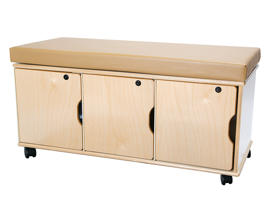 Demco® Mobile Storage Bench, locking door storage
