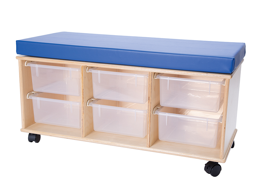 Demco® Mobile Storage Bench, open tray storage