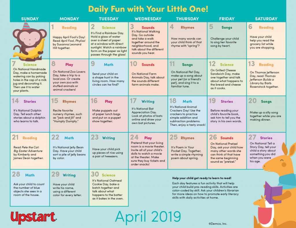 Early Literacy Activity Calendar: April 2019