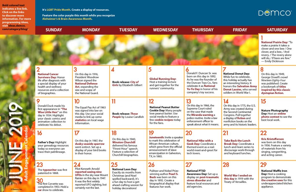 Adult Library Program Ideas Calendar June 2019