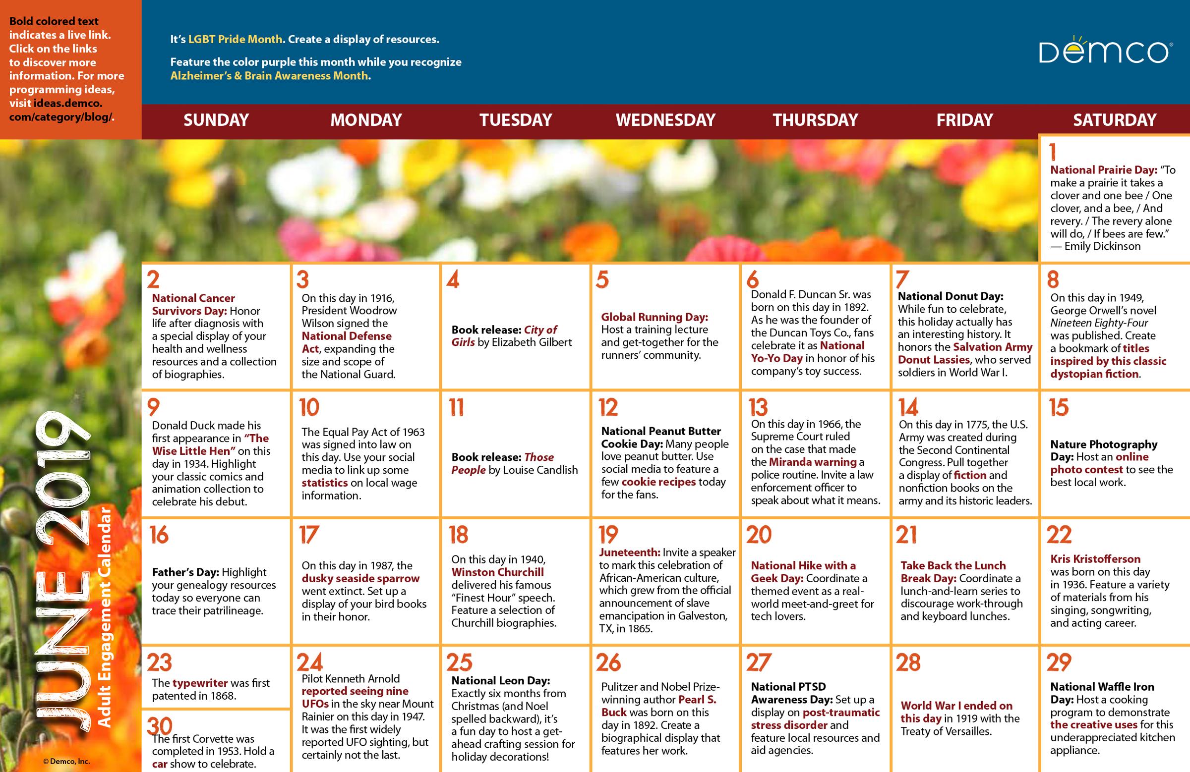 Adult Calendar 2019 Adult Library Program Ideas Calendar — June 2019