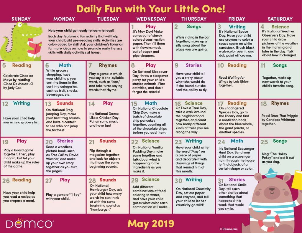 Early Literacy Activity Calendar: May 2019
