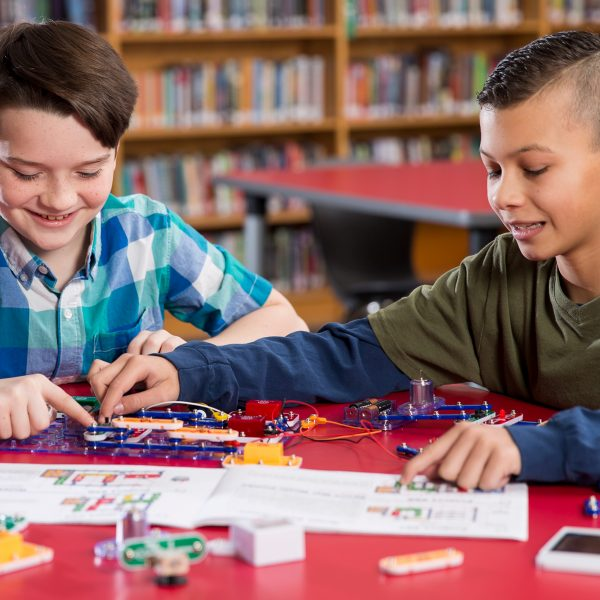 Two Cabot students explore circuitry with Snap Circuits®.