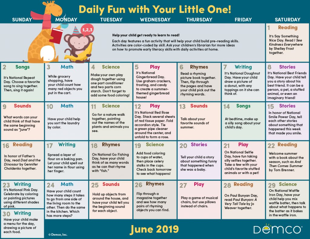 Early Literacy Activities Calendar June 2019