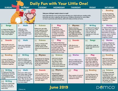 Early Literacy Activity Calendar: June 2019