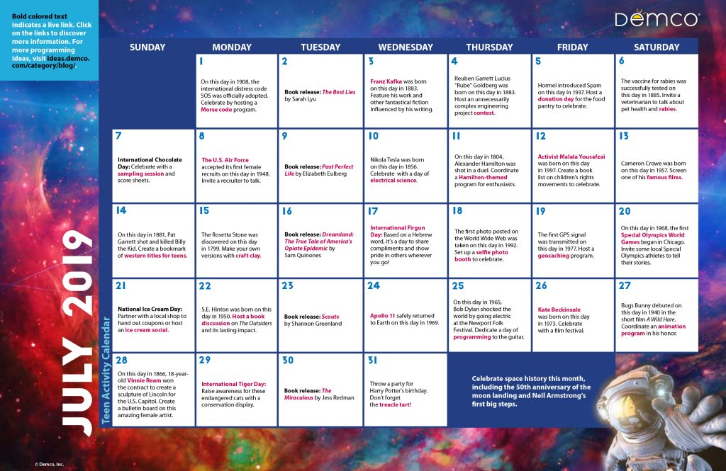 Teen Activity Calendar July 2019
