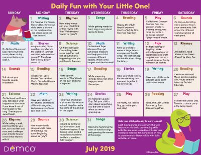 Early Literacy Activity Calendar: July 2019