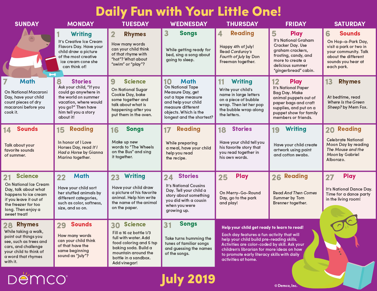 Early Literacy Activities Calendar July 2019 Crafts