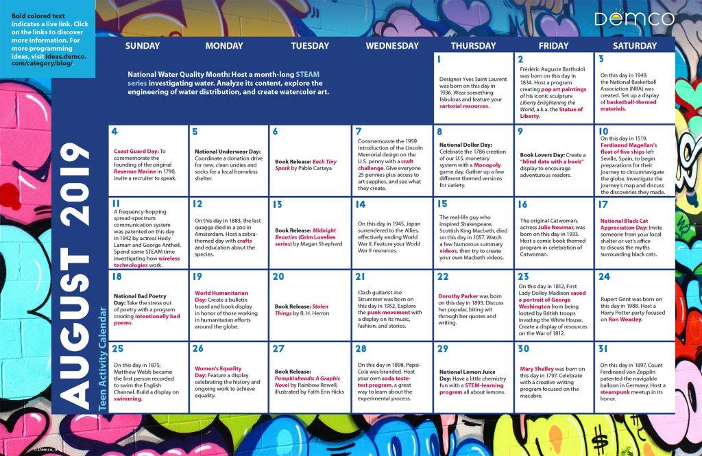 Teen Activity Calendar: August 2019