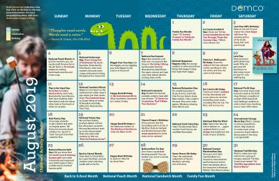 Children's Activity Calendar: August 2019