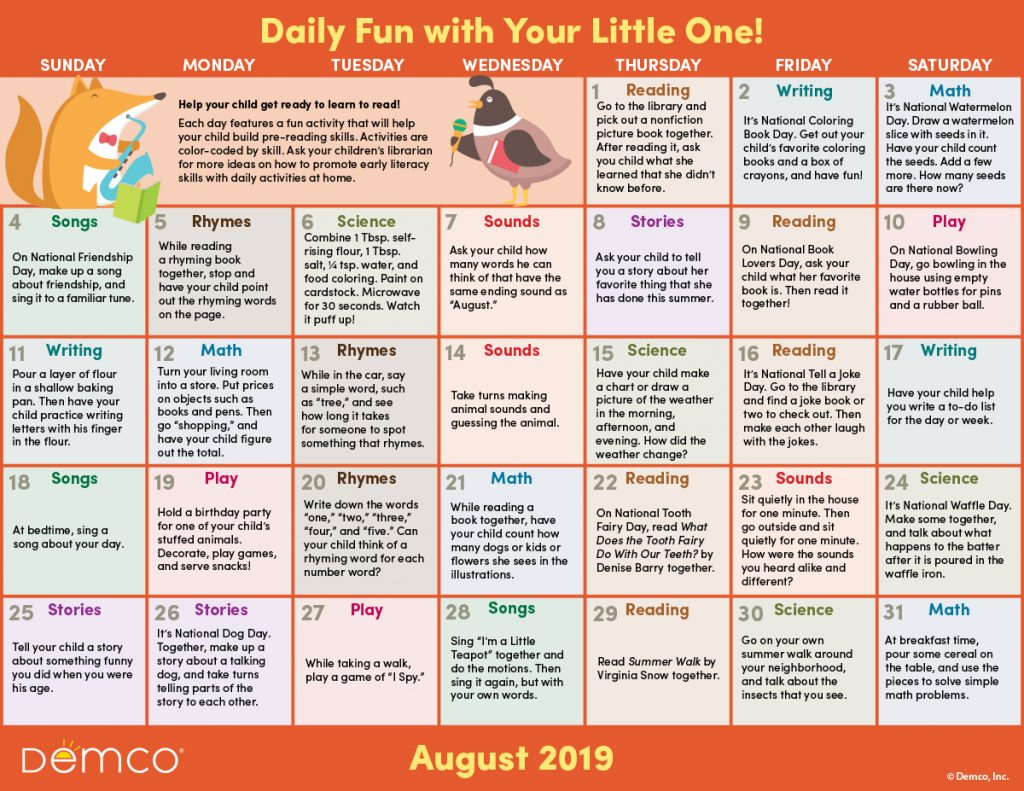 Early Literacy Activities Calendar August 2019