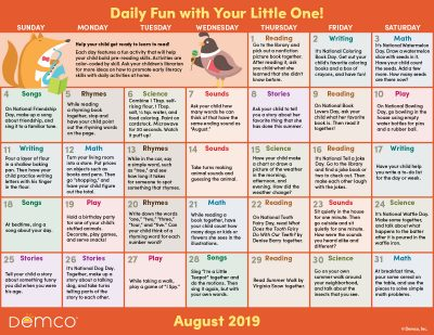 Early Literacy Activity Calendar: August 2019