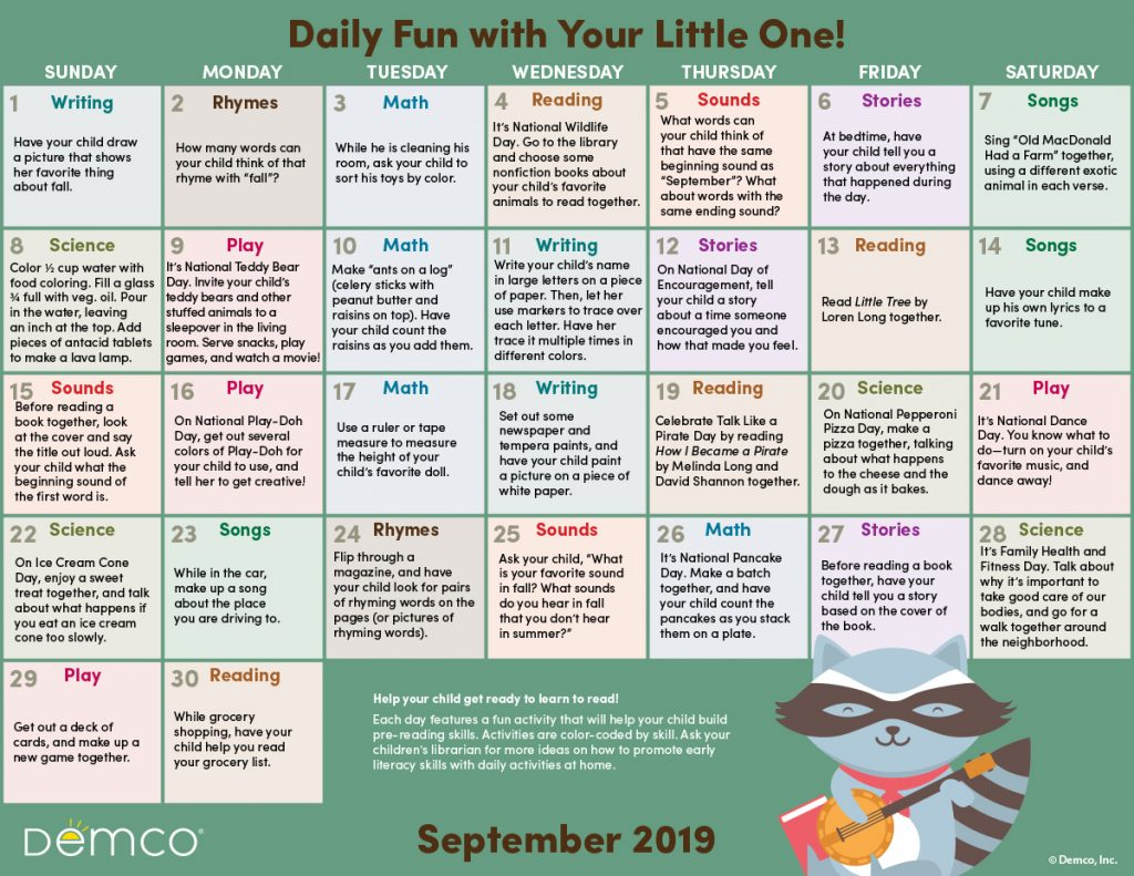 Early Literacy Activity Calendar: September 2019