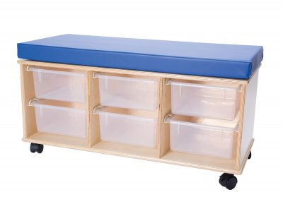 Demco Mobile Storage Benches — 6-Tray Bench